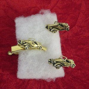 Vintage Swank Gold Tone Automobile Cufflinks & Tie